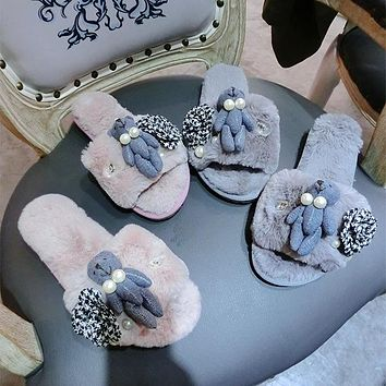 Cute Flower Pearl Bear Doll Keep Warm Plush Home Slippers Women Lazy Flats Shoes