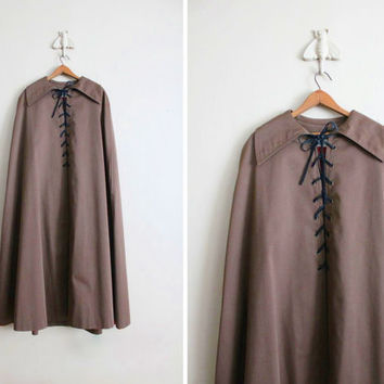 1960s cape / brown canvas cape / corset cape