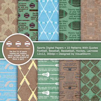 Sports Digital Paper, Printable Sports Papers and Famous Quotes, green and brown, football, basketball, baseball, hockey, Buy 2 Get 1 Free