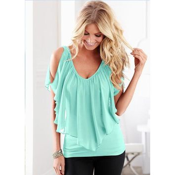 LMF9GW 2016 Summer Sexy Women Candy Colors Blouses Fashion Sleeveless Irregular Chiffon Shirts Off The Shoulder Women Plus Size Tops