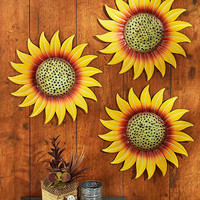 Sunflower Wall Decor Metal Set of 3 Outdoor Indoor Fence Porch Sculpture