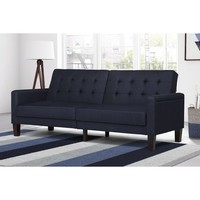 Modern Navy Linen Fabric Button-Tufted Futon Sofa Bed