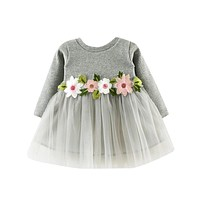 Baby Girl Floral Tutu Long Sleeve Princess Dress