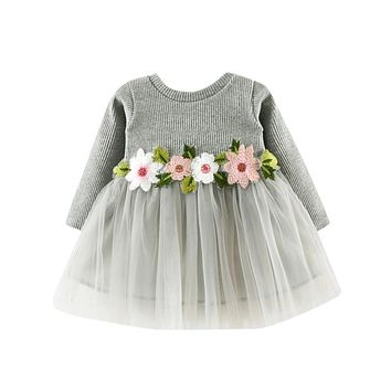 Girls clothes Dress Floral Cute Toddler Baby Girl Floral Tutu Long Sleeve Princess Dress ping
