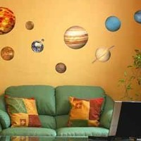EDUCATIONAL SOLAR SYSTEM PLANETS WALL STICKERS