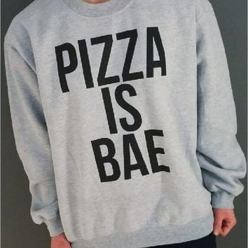 PEAPJ1A Long-sleeved men and women cotton letters sweater PIZZA IS BAE