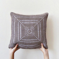 Natural brown crochet pillowcase, two sided throw pillow cover, crocheted cushion, eco friendly cotton decorative pillow cover