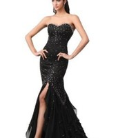 Winey Bridal® Black Sexy Merimaid Bling Front Slit Ruffles Prom Pageant Dresses