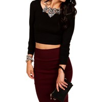 Black Basic Long Sleeve Crop Tee