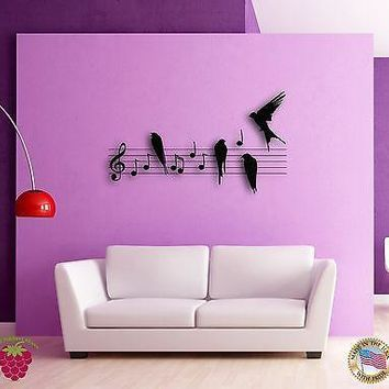 Wall Sticker Birds Notes Music Musicians The Coolest Decor For Living Room Unique Gift z1521
