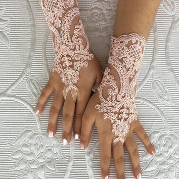 Blush Pink bridal gloves Flower Girl lace gloves  french lace for princess wedding gloves, lace glove, Bridesmaid gloves