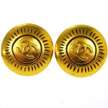 Chanel Gold Charm Sunshine Evening Statement Stud Earrings