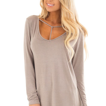 Taupe Long Sleeve Top with T Strap Neckline Detail