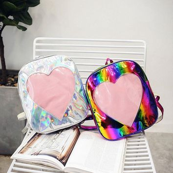 Osmond Laser Hologram Women Backpacks Leather Colorful Rainbow Love Heart Shape Mini Backpack School Bags For Teenagers Girls