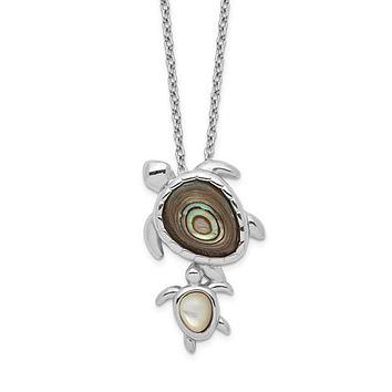 "Sterling Silver Mother and Baby Paua Abalone And Mother of Pearl Turtle 18"" Necklace"