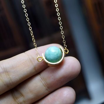 Tiny Gold Amazonite Necklace - Silver Natural Amazonite Pendant - Geometrical Galaxy Necklace, Cresent Moon Globe Necklace