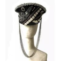 Handmade Embroidery & Chains Military Hat