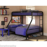 Dorel Twin Over Full Metal Bunk Bed Black Ladder Dorm