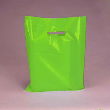 LIME GREEN 100pk Premium Glossy Plastic Merchandise Party Gift Favor bags