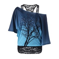 Lace Collared Tree Printed Half Sleeve Shirt