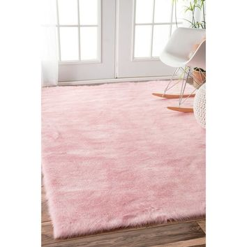 nuLOOM Cozy Soft and Plush Faux Sheepskin Shag Kids Nursery Pink Rug (7'6 x 9'6) | Overstock.com Shopping - The Best Deals on 7x9 - 10x14 Rugs