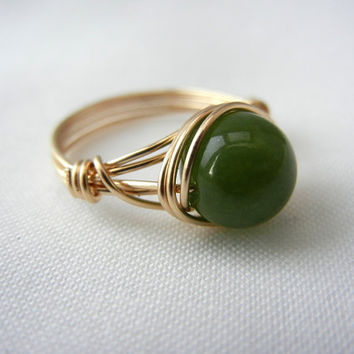 Gold Jade Ring, 14kt Gold-Filled Wire Wrapped Ring, Bridesmaid Jewelry