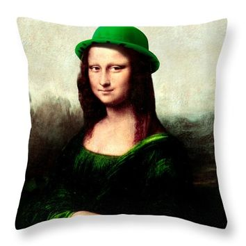 Lucky Mona Lisa Throw Pillow