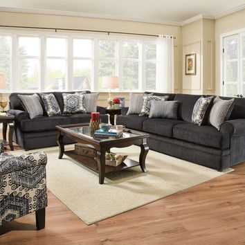 Bellamy Slate Sofa and Loveseat