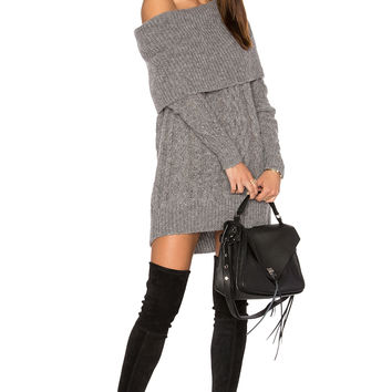 KENDALL + KYLIE Oversized Cable Tunic Sweater in Medium Heather Grey | REVOLVE