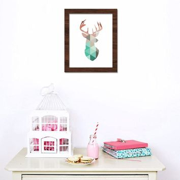 Geometric Coral Deer Head Canvas Art Print Poster wall sticker
