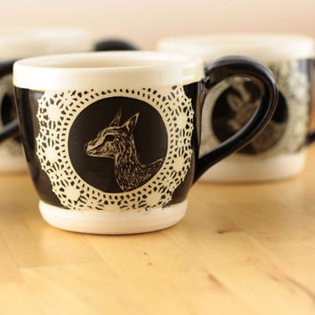Ceramic Mug with Hand Carved Gazelle : Antlers No. 2