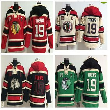 Top Quality Blackhawks Old Time Hockey Jerseys 19 Jonathan Toews Hoodie Pullover Sweatshirts Winter Jacket Mix Order