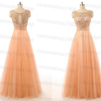 Sexy Coral Cap Sleeve Beading Tulle Bridesmaid Dress Handmade Coral Girls Long Prom Dress/Wedding Party Dress