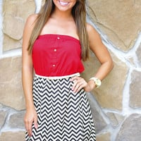 Just For Hope Dress: Maroon/Chevron | Hope's