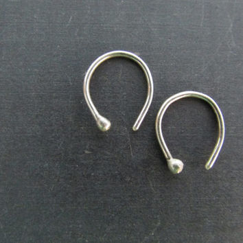 Horshoe Minimal Earrings, Sterling Silver Hand Forged Earrings