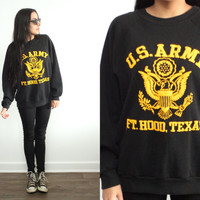 Vintage ARMY Black Pullover Military Fort Hood Sweatshirt // Hipster Grunge Biker // XS Extra Small / Small / Medium