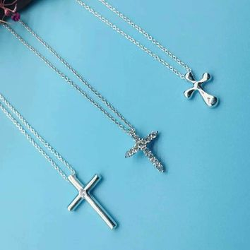 Tiffany Cross Necklace 925 Sterling Silver Series