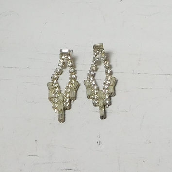 Rhinestone Earrings Posts Studs Drop Dangle Long Baguette and Round Vintage Art Deco Expandable