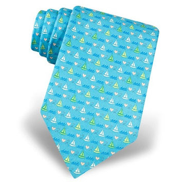 Love to Sail Men's Silk Necktie Blue