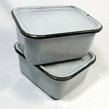 Vintage Enamel Refrigerator Storage Container/Grey Kitche Container with Lid Storage/1940s Food Storage Containers (4 peice, Lot of 2)