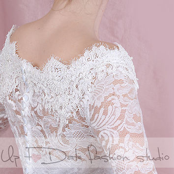 Bridal  lace  Off-Shoulder / French Lace/ wedding jacket/ Bolero shrug/  jacket /bridal lace top