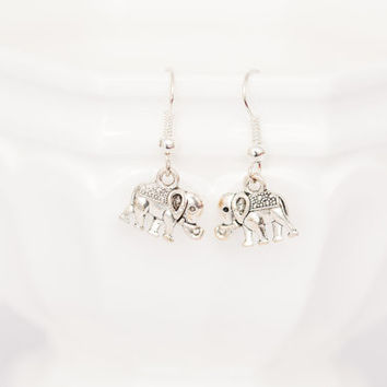 Silver Elephant Earrings - Jewelry for Animal Lovers - Safari