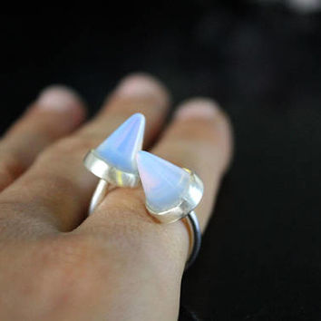 Opal Ring, Silver Ring, Silver Opal Ring, Unicorn Ring , Moonstone Ring, Gift For Her, Sterling Silver Ring, Opal Jewelry, Silver Spike Ring