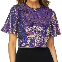 Purple Sequin Crop Top with Full Back Zip Closure