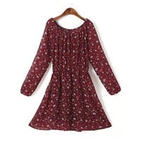 Summer Stylish Floral Chiffon Round-neck Casual Dress Skirt One Piece Dress [4917783876]
