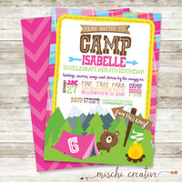 "Little Girls Camping, Outdoors and S'mores Birthday Party DIY Printable Invitation, 5"" x 7"""