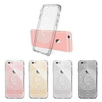 DCCKV2S iPhone 6s Case, iPhone 6 Clear Case, MOSNOVO White Moon Henna Mandala Lace Pattern Printed Clear Design Transparent Plastic Back Case with Soft TPU Bumper Cover for Apple iPhone 6 6s (4.7 Inch)