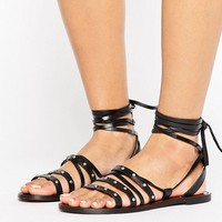 Pull&Bear Stud Detail Leather Sandals at asos.com