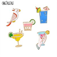 5 Pcs 1 Set Cartoon Brooch Badges Enamel Pin Bird Orange Juice Clothing Decoration Pins Jeans Hat