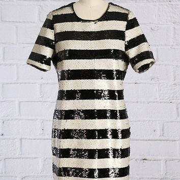 STRIPED DOWN WITH LOVE SEQUINS DRESS
